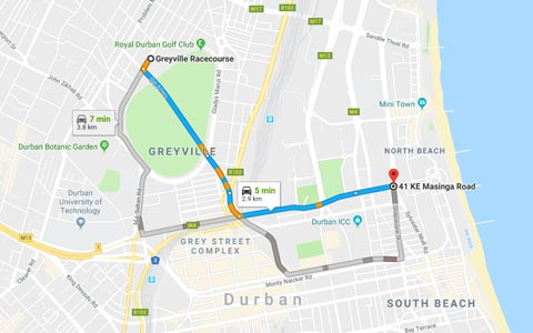 Directions from Onomo to Greyville