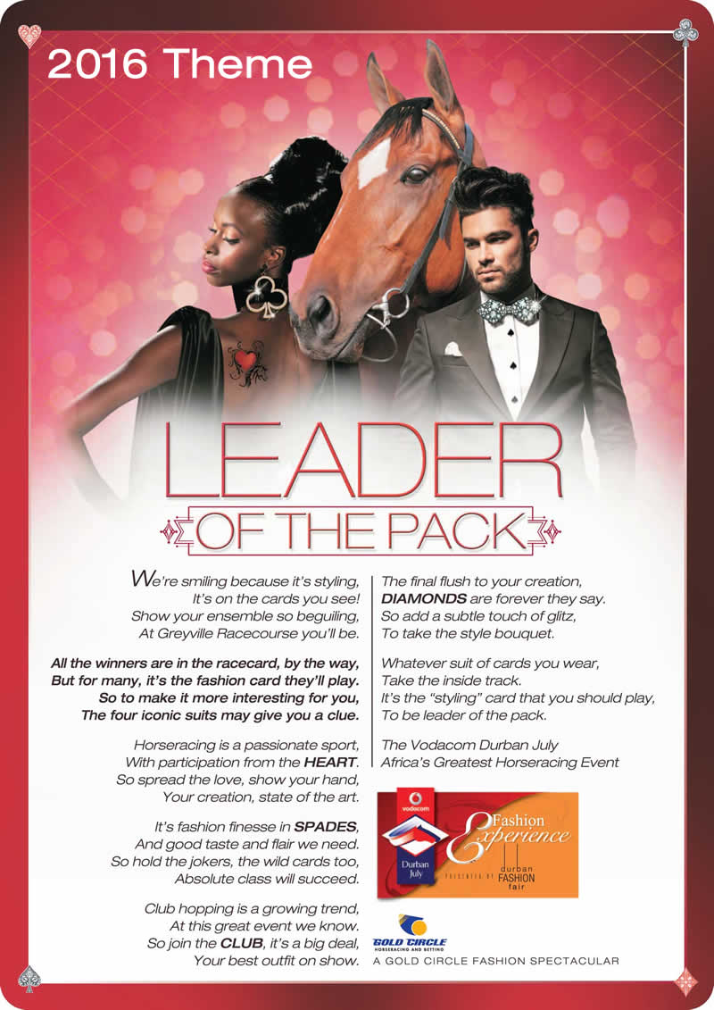 The 2017 VodaDurban July Horse Race theme. Durbanjuly.info